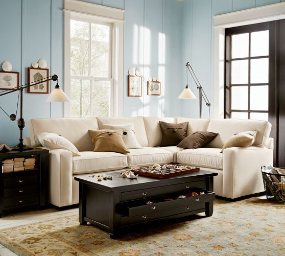 Pb Square Upholstered 3 Piece Sectional Pottery Barn Hearth Area