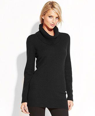 INC International Concepts Long-Sleeve Cowl-Neck Tunic Sweater ...