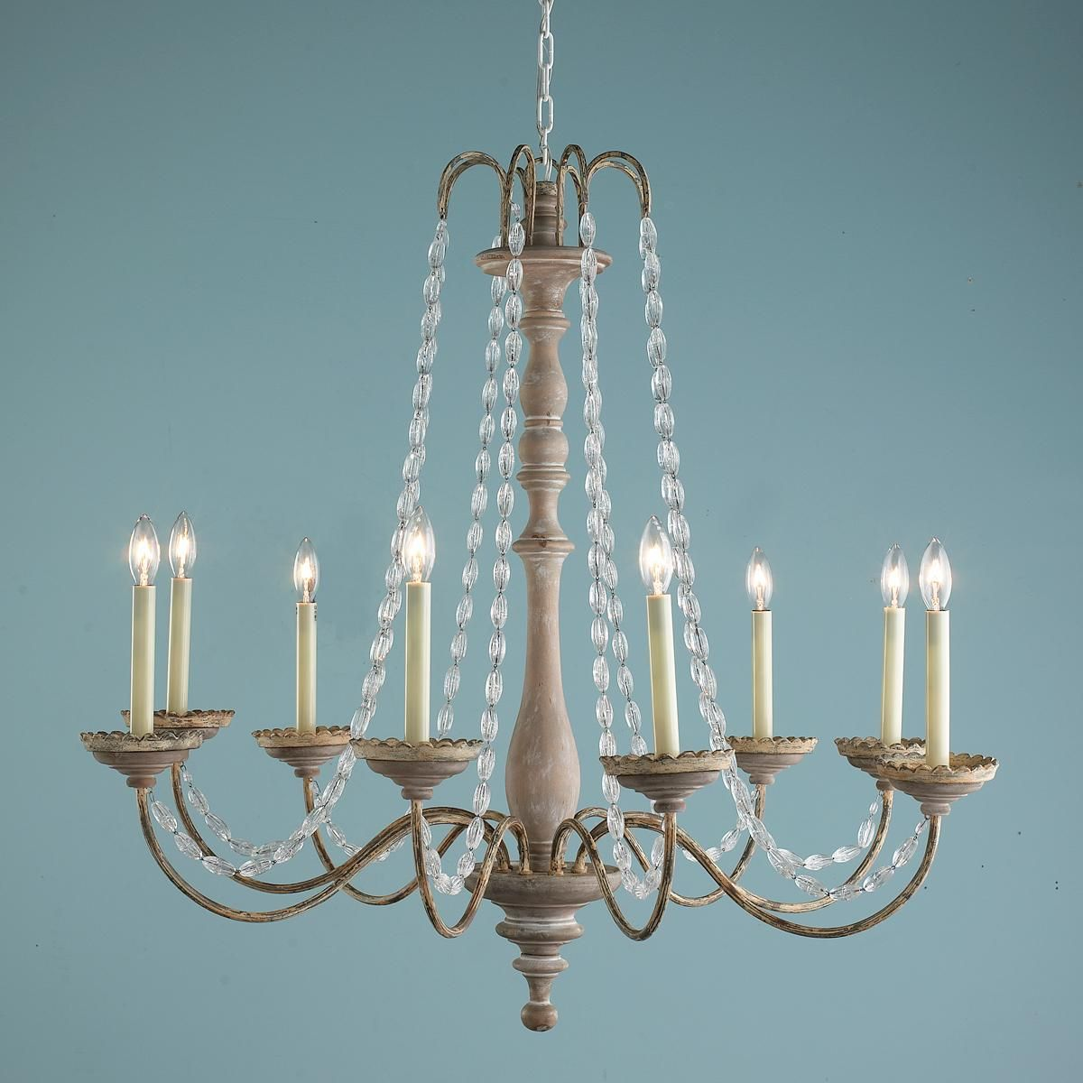 Crystal Swag And Wooden Spindle Chandelier 8 Light 749 Shades Of 34 H X 36 5 W Living Room