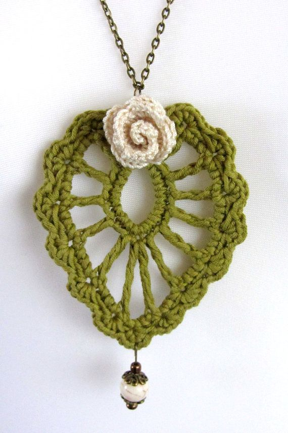 Metal necklace with handmade  crochet pendant by ChainAndHook