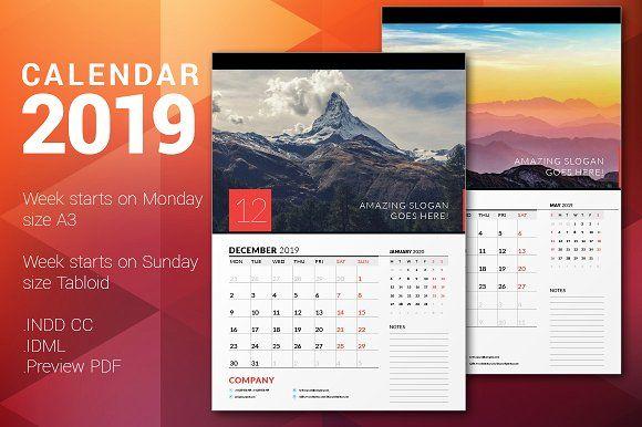 Wall Calendar 2019 by AntartStock on @creativemarket Workstuff