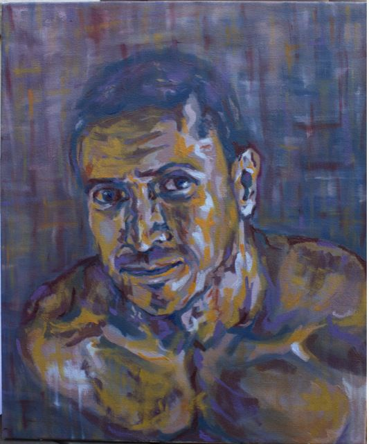 Autorretrato, 2013 Oleo sobre lienzo, 55cm x 46cm Contexto ordenado, metódico y aburrido de donde emerge algo que no encaja. Self Portrait, 2013 Oil on canvas, 55cm x 46cm Ordered, methodical and boring context, from which emerges something wrong.