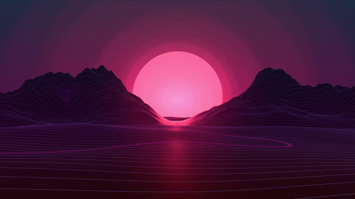 Neon Sunset 4k By Axiomdesign Vaporwave Wallpaper Sunset Wallpaper Neon Wallpaper