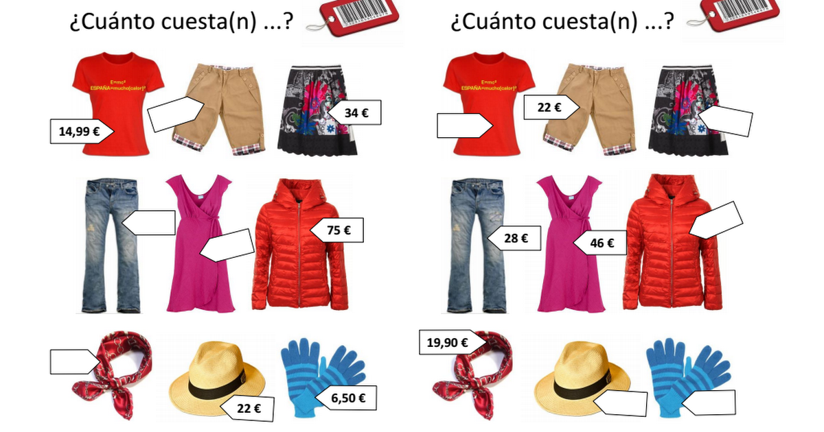 Cuánto cuesta ROPA.pdf | Para la clase | Pinterest | Spanish ...
