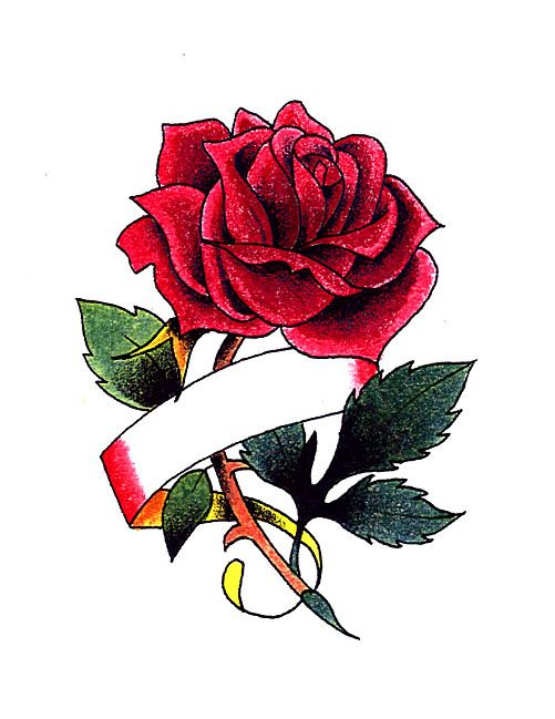 Red Rose With Ribbon For Name Tattoo Rose Tattoo With Name Rose Tattoo Design Rose Tattoos