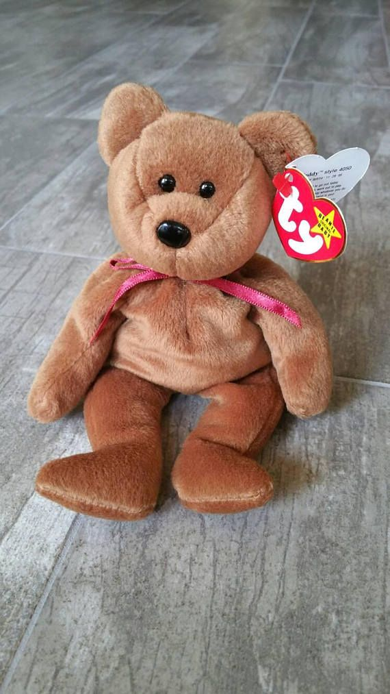 6849d75286d Teddy the Bear Rare Collectible Vintage Original 1993 Ty Beanie Baby Guys  Girls Boys Birthday Brown
