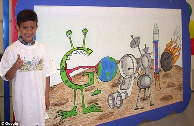 Only SEVEN years old, Matteo Lopez is the youngest Google Doodler.  His dream is to 'meet other people in different planets and go to other planets I haven't been to,' before adding: 'I've only been to Earth.'