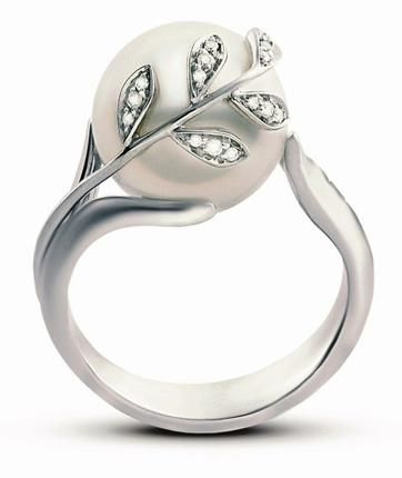 1d130638bdb4f Mikimoto pearl ring; Looks so similar to my engagement ring, with the leaf  motif, love! (RL)