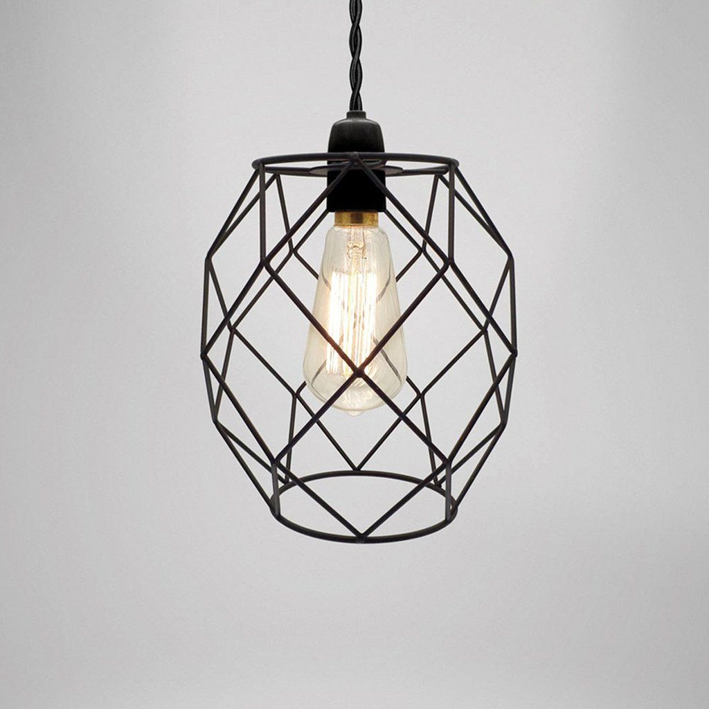 19 cm Industrial Retro Geometric Wire Black Ceiling Lamp | Pendants ...