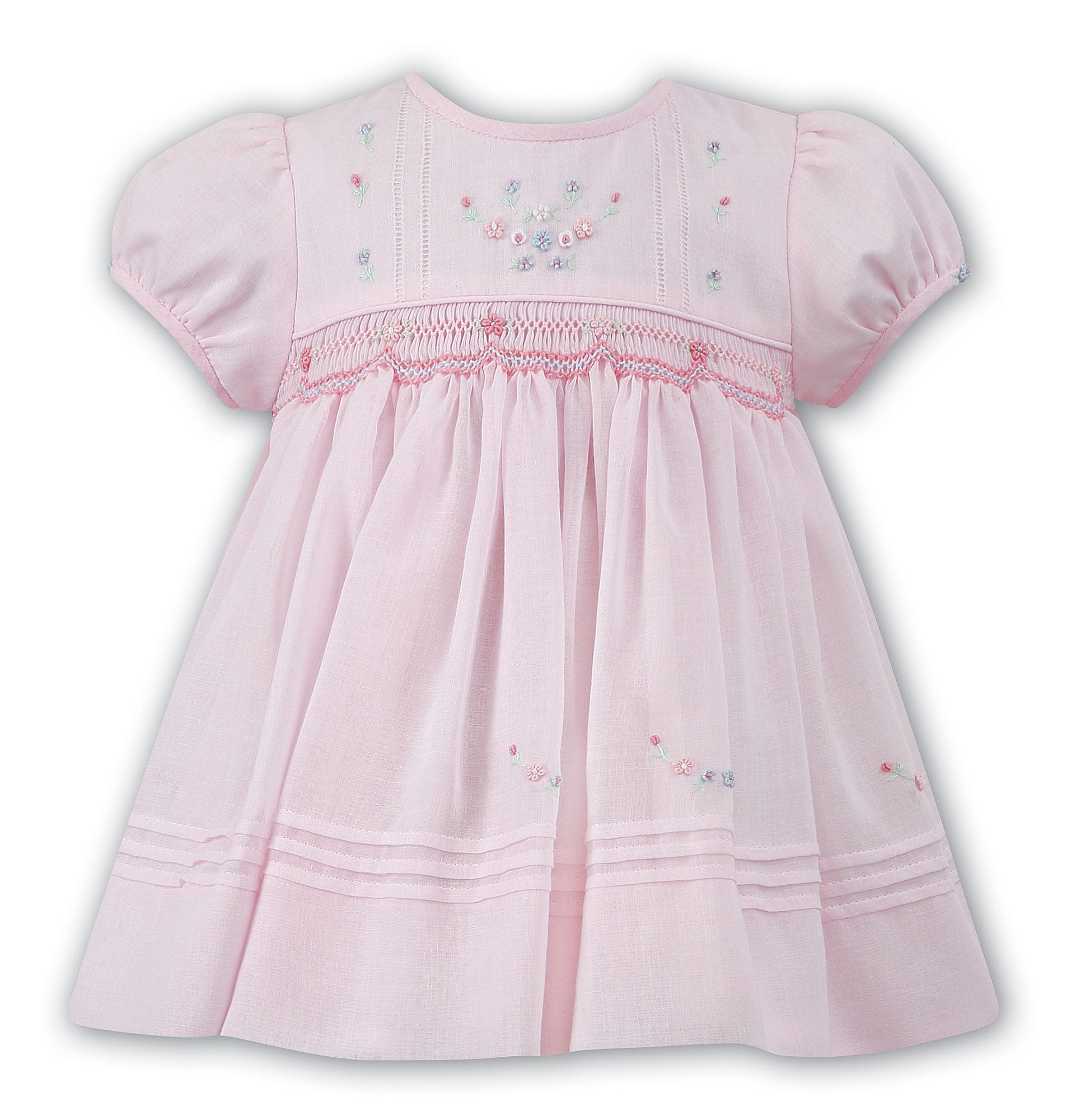 Sarah Louise Baby Girls Pink Voile Flower Smocked Dress 3 6 9 Months