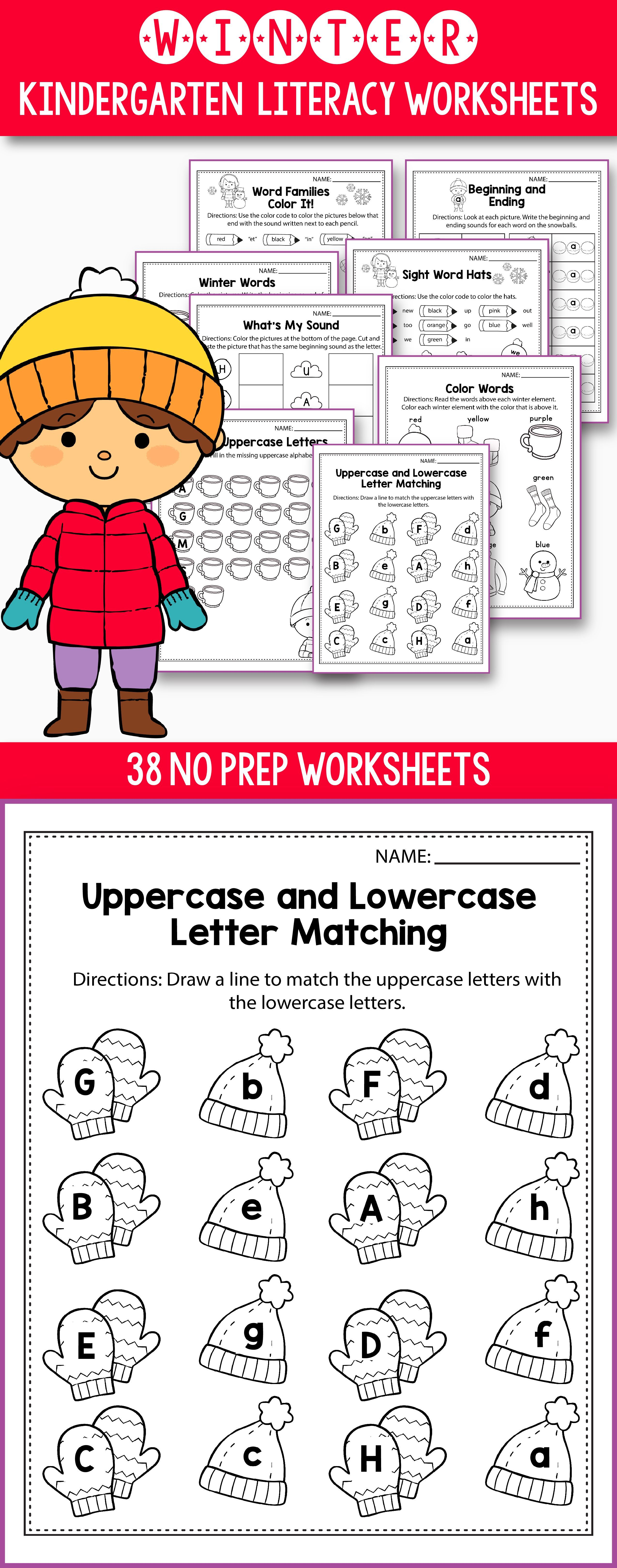 No Prep Winter Literacy activities and worksheets for kindergarten ...