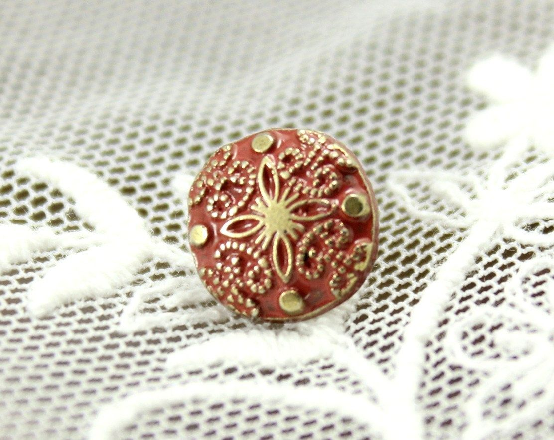 Damascene Carvings Metal Buttons , Red Paint Brass Color , Shank , 0.39 inch , 10 pcs  by Lyanwood, $4.50