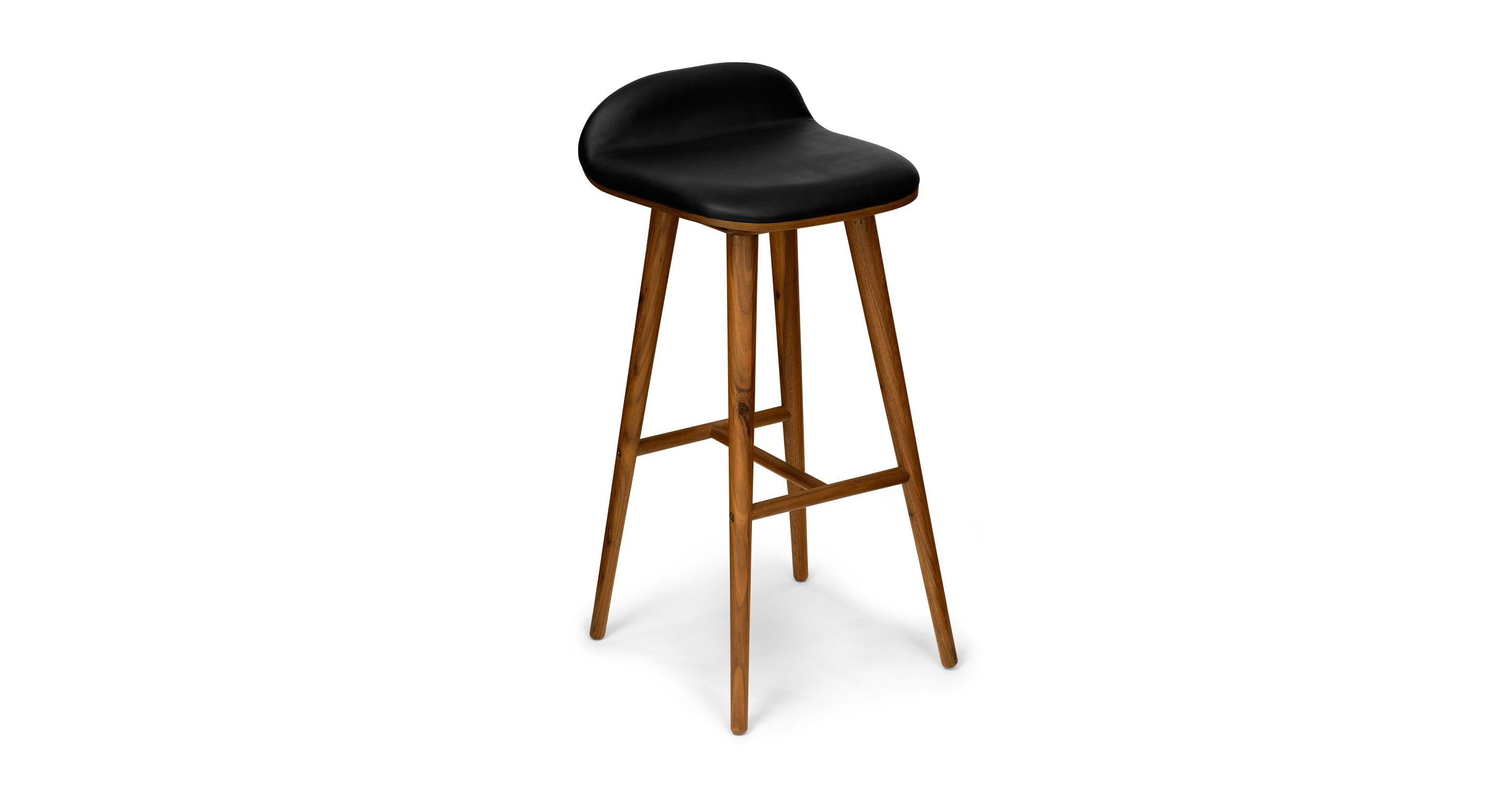 Black Leather Bar Stool With Back Walnut Wood Article