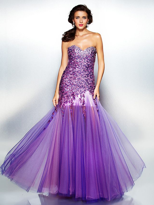 A-line Sweetheart Floor-length Sequined And Tulle Evening Dress - USD $229.99