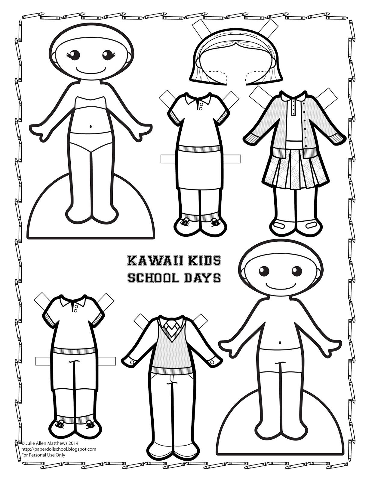 A black and white Kawaii Kid paper doll to color! Paper