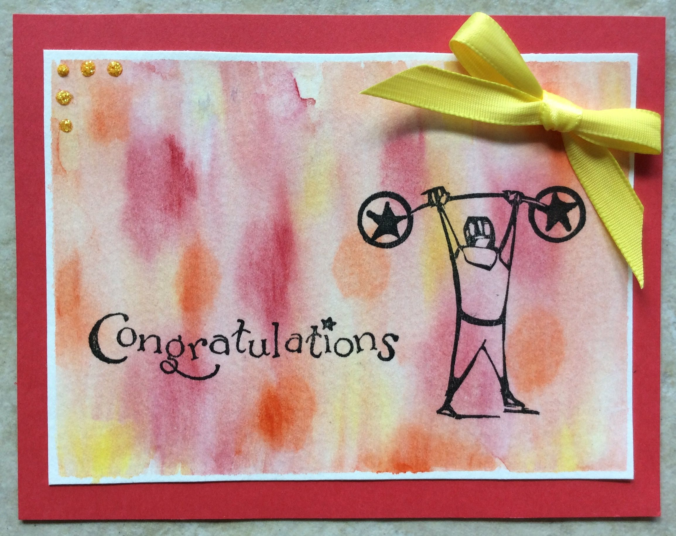 T. Holtz Big Top weight lifter card with soft watercolored background