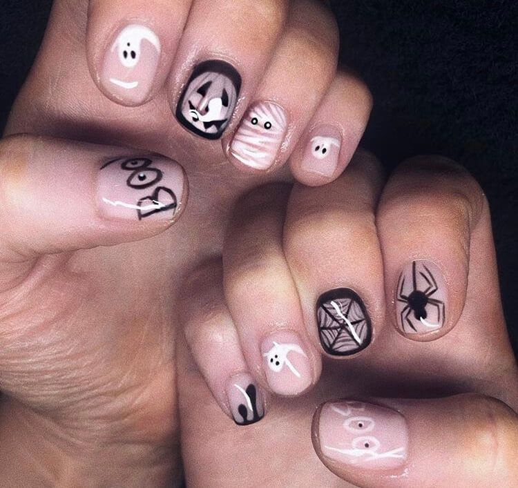 20 Cute Halloween Short Nails For 2020 Ideasdonuts In 2020 Halloween Shorts Short Nails Nails
