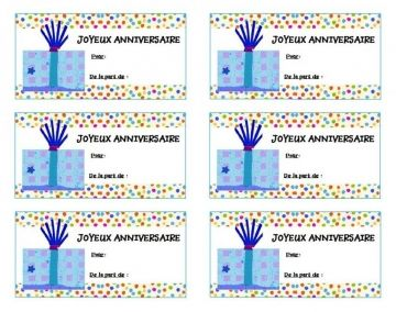 imprimer etiquettes gratuites pour papier cadeau anniversaire etiquettes pinterest tags. Black Bedroom Furniture Sets. Home Design Ideas