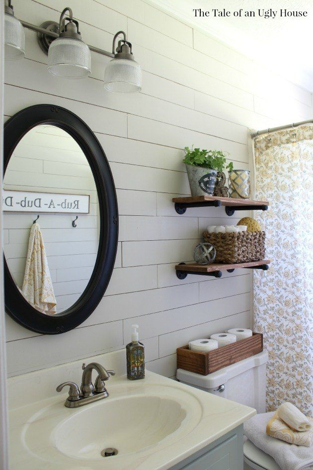 A FarmHouse Bath Makeover + Cheapest Shiplap How-To | Bath, Rustic ...