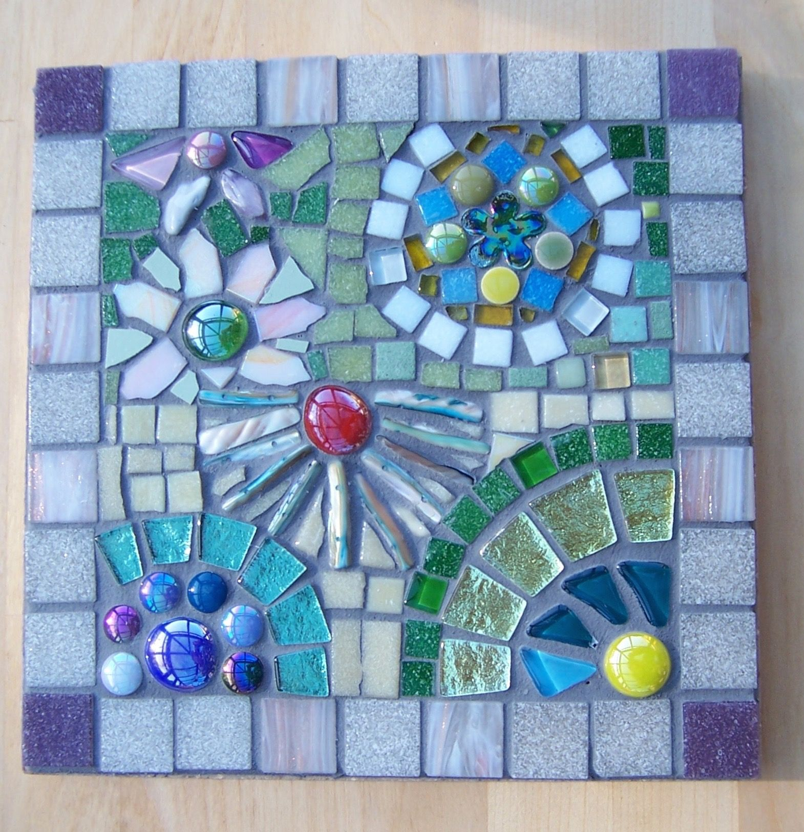 Sunshine and flowers mosaic: ceramic and glass tiles, moonshine ...