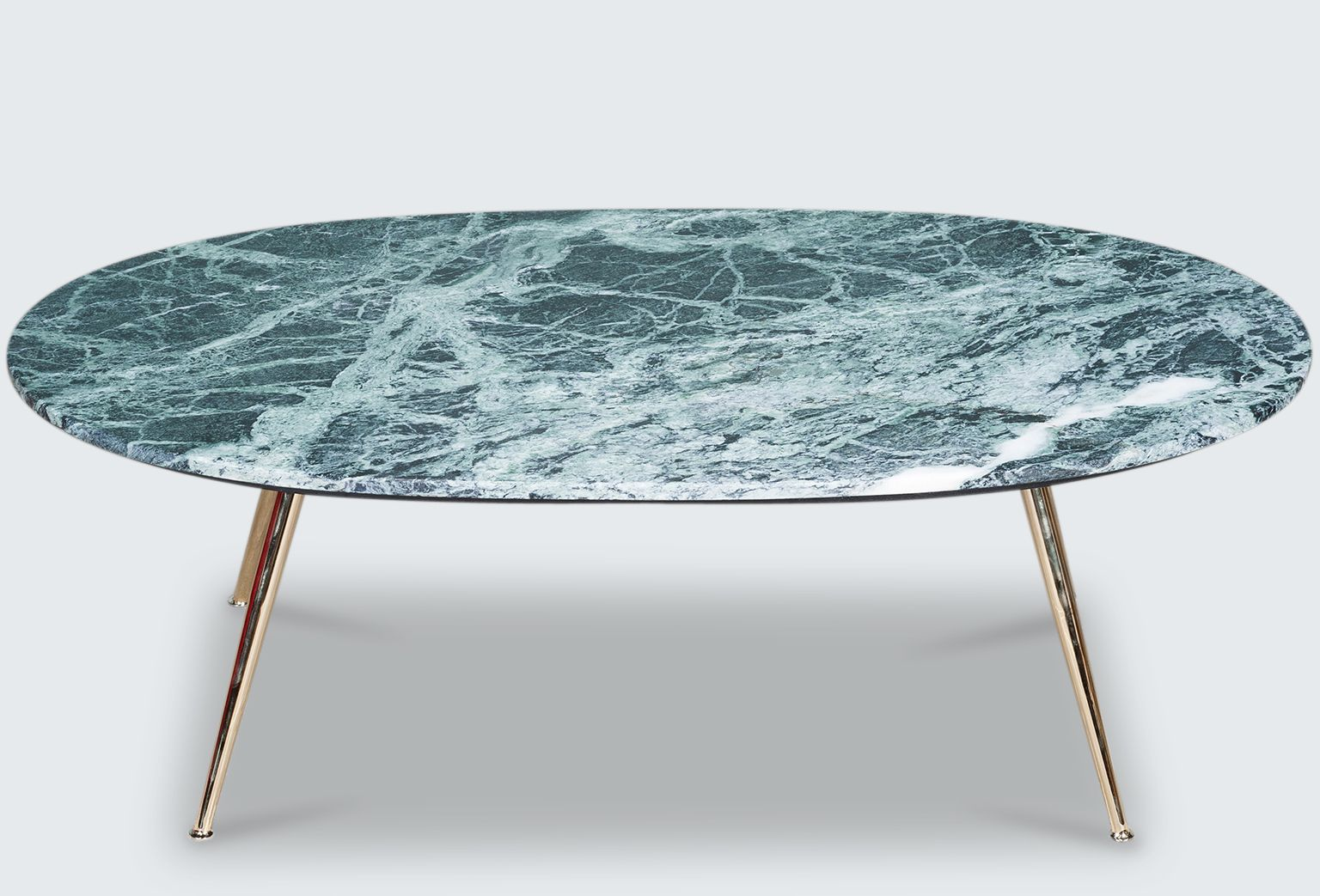 MODERN TIMES MARBLE COFFEE TABLE- BLACK/GREEN Modern Times designed and made marble-top coffee table. Available in black, white or pink marble with tapered brass legs.