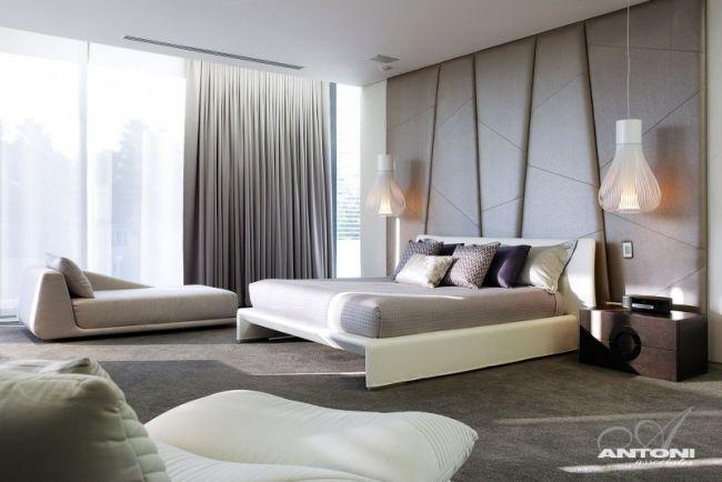 schlafzimmer creme leder platten wand pendelleuchten - Schlafzimmer Design Creme
