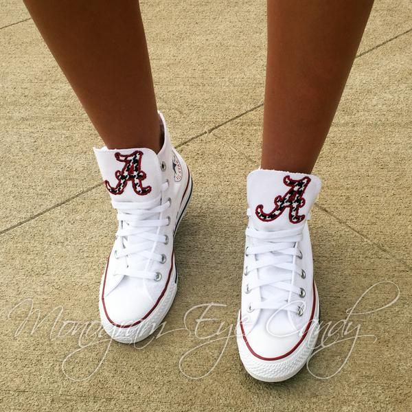 Customized Converse Sneakers Alabama Edition (Dark Red
