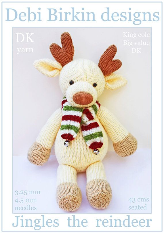 Knitting pattern for a cute reindeer the yarn is used double thick ...