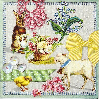 4x Paper Napkins for Decoupage Decopatch Craft Easter Collage