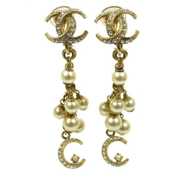 Preowned Chanel Like New Gold Faux Pearl Charm Long Dangle Drop 6 905