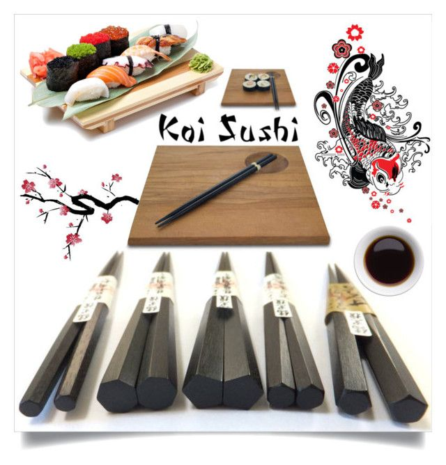 """Koi Sushi Bar"" by downtownblues ❤ liked on Polyvore featuring interior, interiors, interior design, home, home decor, interior decorating, sushi, japanese and chopsticks"