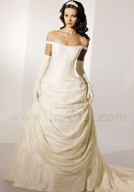 I m liking the gloves and tiara idea with down hairstyle. Victorian style  corset   bustle ivory dress. a92b1142bb55