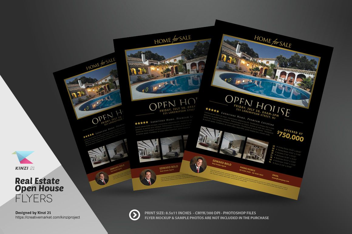 Real Estate Open House Flyers By Kinzi On Creative Market