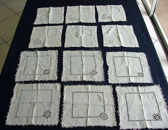 2 Sets of Linen Napkins Cutwork & Embroidery c.1920 by chalcroft, $12.00