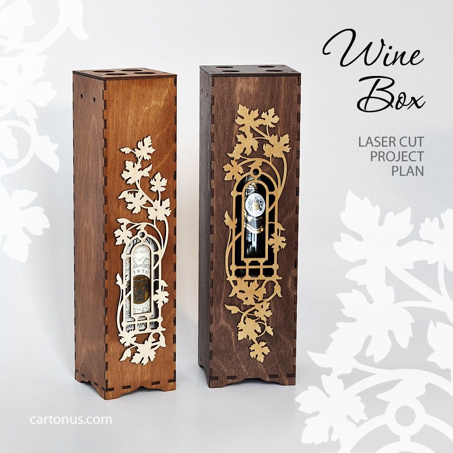 Wooden Wine Boxes Gift Wood Laser Art Cut