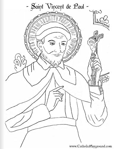saint vincent de paul coloring page september catholic playground