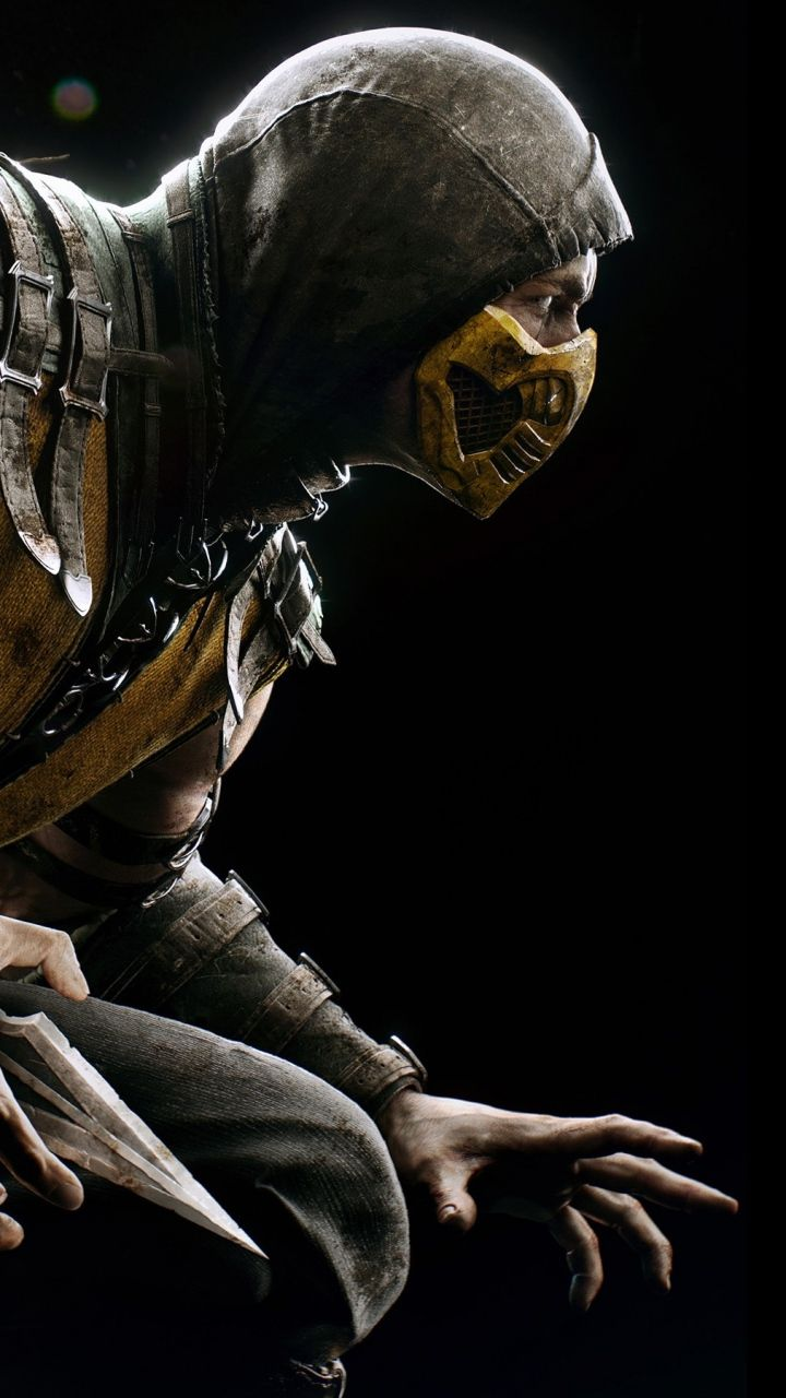 download wallpaper 720x1280 mortal kombat, scorpion, hero, costume