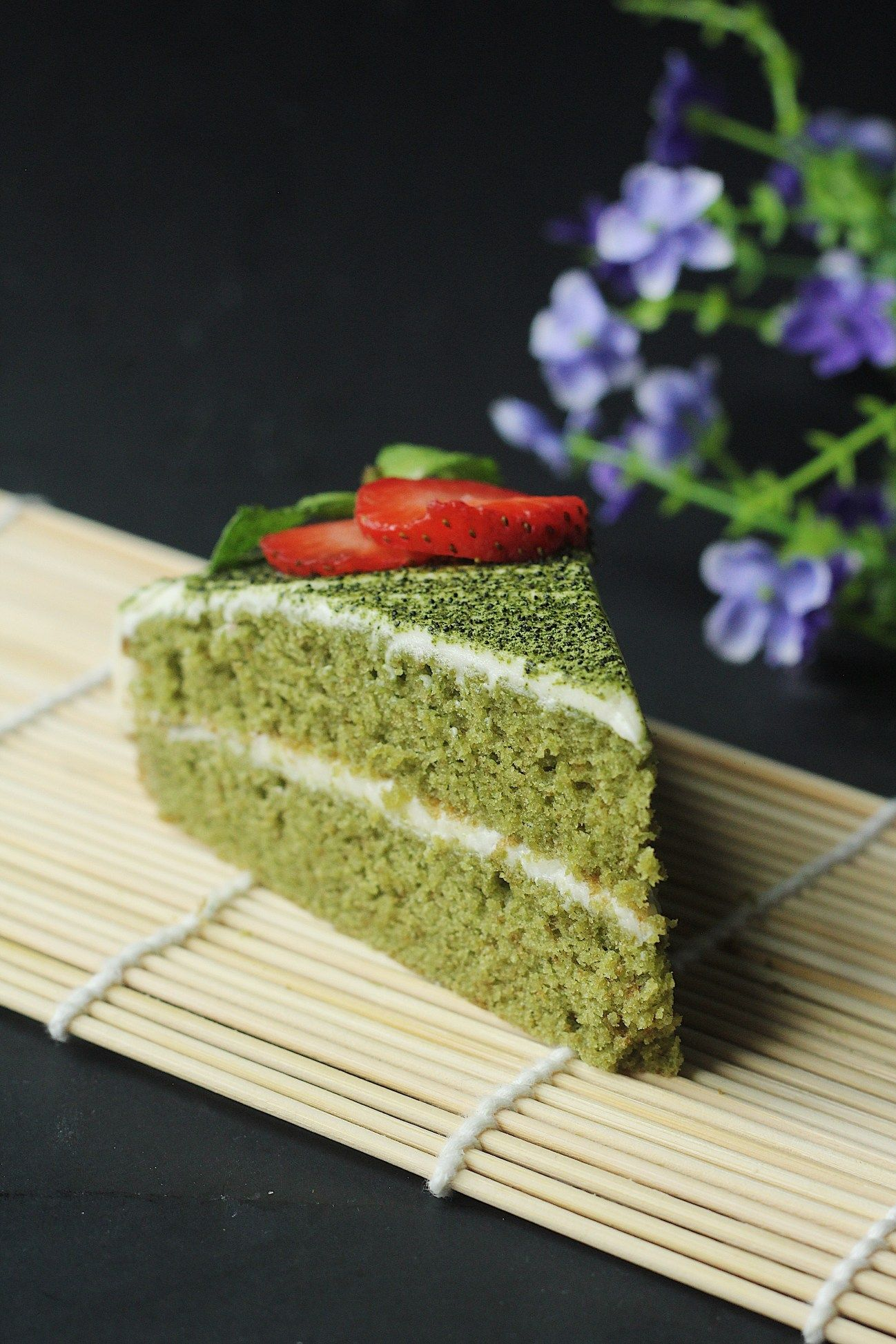 Photo of Green Tea (Matcha) Cake with White Chocolate Frosting Recipe – Couple Eats Food