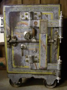 This antique bankers safe was made by Diebold Safe & Lock Co