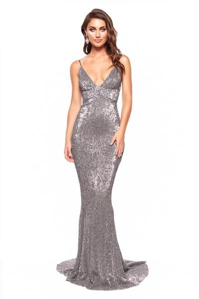 c208cbdf A&N Cynthia Gown - Gunmetal Sparkling Sequin Mermaid Gown with V-Neck – A&N  Luxe Label