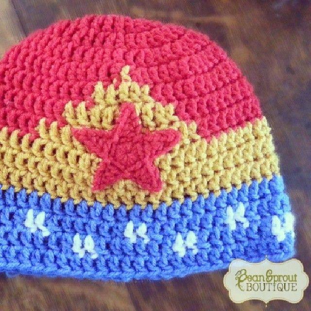 """9a9471962c5 beansproutboutique  """"My new Wonder Woman  crochet  hat design ..."""