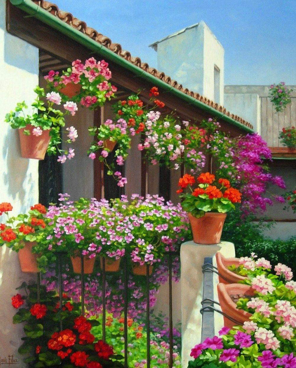 pinturas cuadros pinturas paisajes con flores by jes s