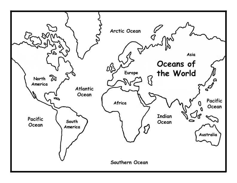 Printable Blank Coloring Pages Continents And Oceans