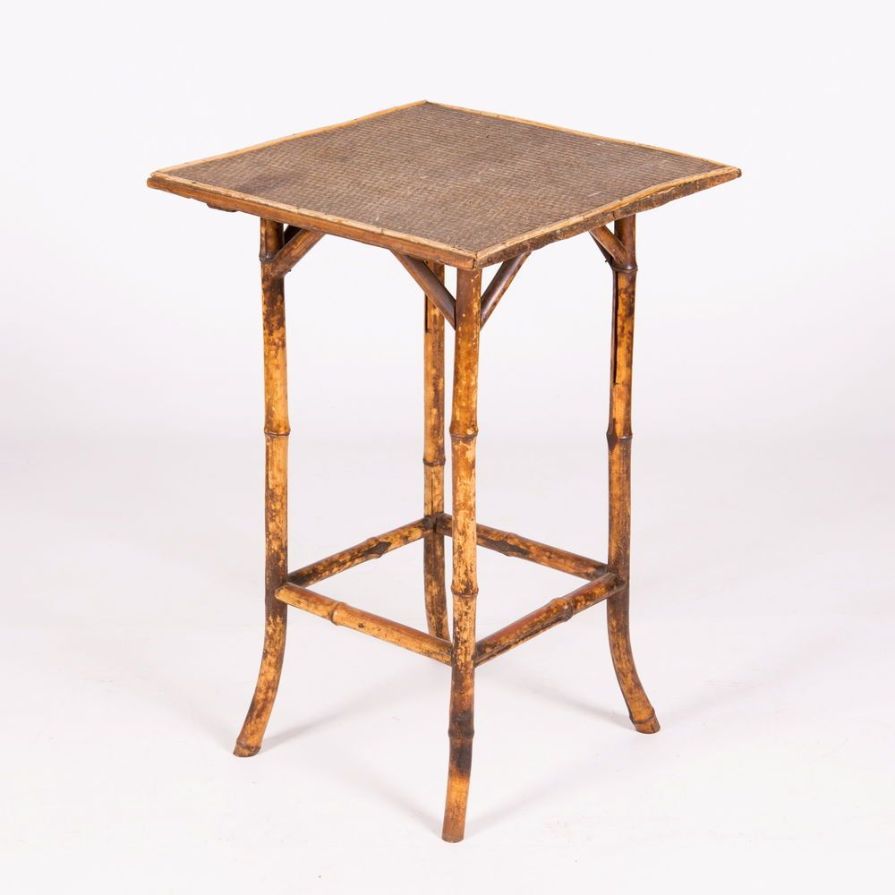 Bamboo Plant On Table: Antique Victorian Bamboo Table 19th Century Canework Plant
