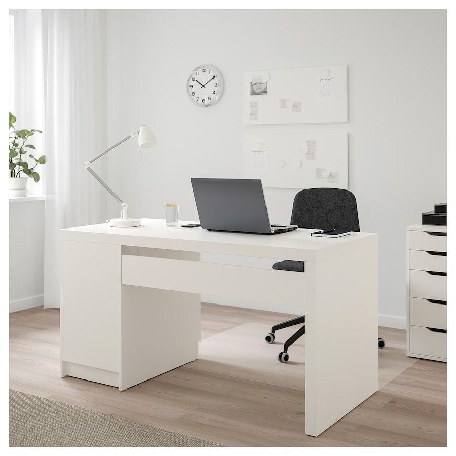 Malm Desk White 55 1 8x25 5 8 Ikea In 2020 Home Office Design Ikea Malm Desk Desk Layout