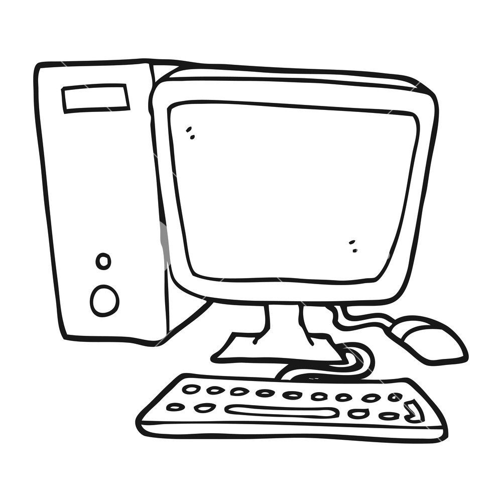 Freehand Drawn Black And White Cartoon Desktop Computer Royalty Free Stock Image Storyblocks Imag Black And White Cartoon Stock Images Free Desktop Computers
