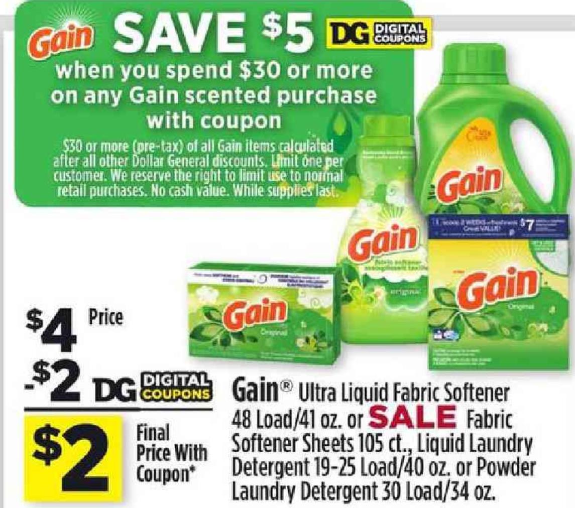 Dollar General Digital Coupon Deals January 21 27 2018 Gain Ultra Liquid Fabric Softener 48 L Dollar General Digital Coupons Digital Coupons Dollar General