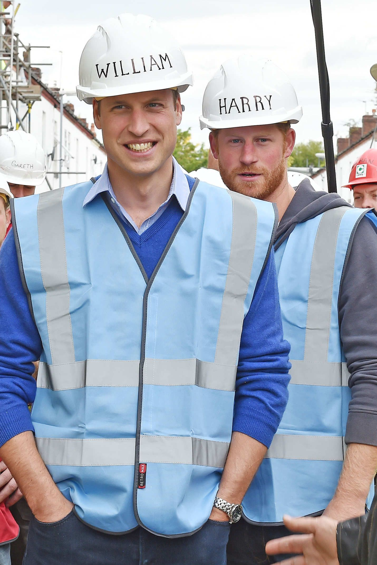 Two Royal Lads Play DressUp in Hard Hats Prince william