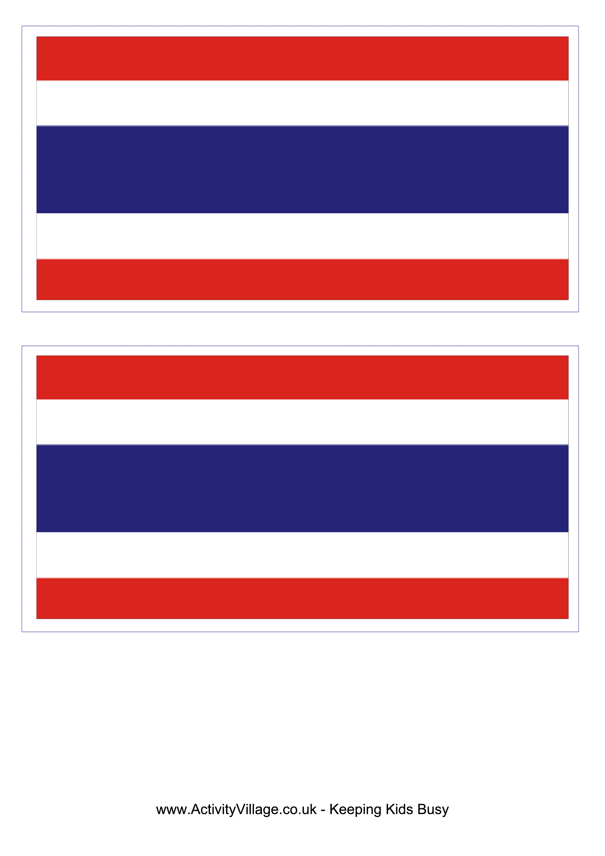 Thailand Flag  Download this free printable Thailand template A4