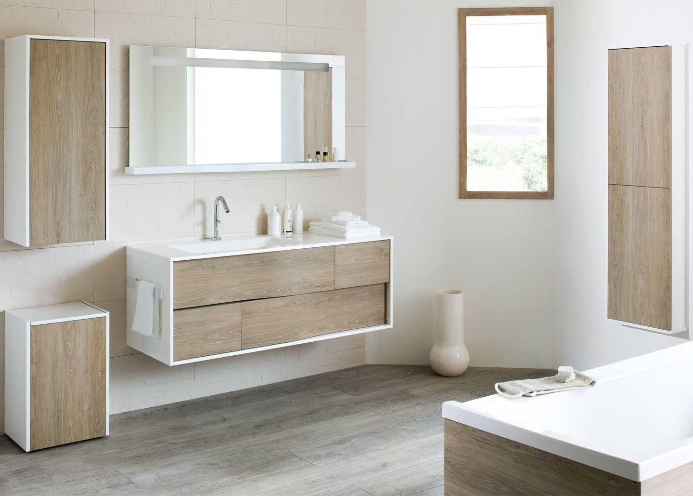 meuble salle de bain facade bois